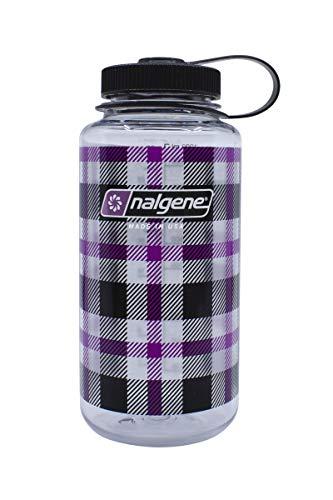 Nalgene Unisex – Botella de cuello ancho para adultos, diseño de cuadros morados, 1 L