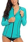 BeautyIn Damen Bademode Rash Guard UV Shirt Langarm Slim-Fit Schwimmen Tankini Badeshirts UPF 50+ XL