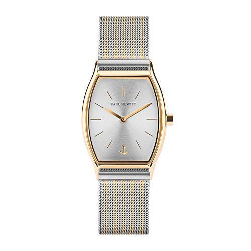 PAUL HEWITT Armbanduhr Damen Modern Edge Line Silver Sunray - Damen Uhr (Gold), Damenuhr Edelstahlarmband in Gold und Silber, silbernes Ziffernblatt