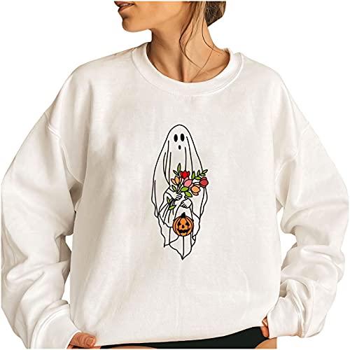 Wave166 Disfraz de Halloween para mujer, jersey de gran tamaño, casual, holgado, ligero, blusa, tops monocromáticos, camisetas deportivas., 10-blanco, XL