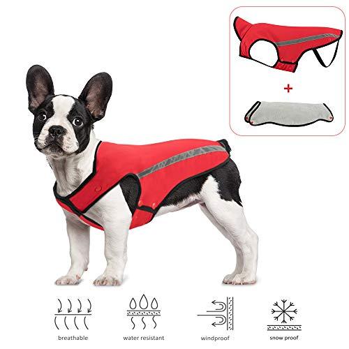 SlowTon Hundejacke für Winter, abnehmbares Flanellfutter, Halsumfang und Brustgröße, Haustier-Weste