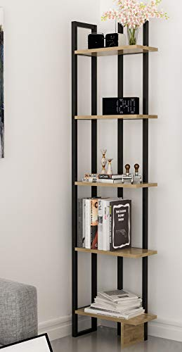 Decorotika Alice 5-Shelf Vintage Industrial Corner Bookshelf, Rustic and Metal Corner Bookcase with Fancy Color Options,Multiple Use Option (Oud and Black)