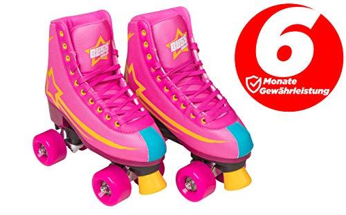 Bliss Rollerskates Mädchen Rollschuhe Damen - Indoor Outdoor Roller Skates Größe 31-42 Rollschuh Rockstar Edition (rosa, 40)
