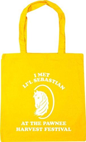 HippoWarehouse I met li'l sebastian at the pawnee harvest festival Tote Shopping Gym Beach Bag 42cm x38cm, 10 litres