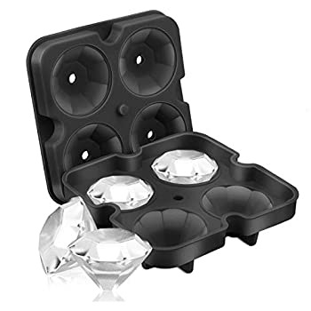 SAWNZC Ice Cube Trays Diamond Ice Cube Molds Reusable Silicone Flexible 4-Ice Trays Maker with Lid for Chilling Whiskey Cocktails Funnel Included Easy Release Stackable Ice Trays with Covers