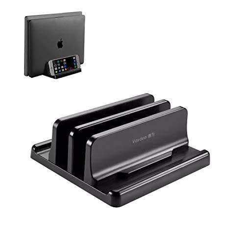 WSZOK Vertical Laptop Stand, Updated Vertical Laptop Stand Holder Adjustable Desktop Notebook Dock Space-Saving 3 In 1