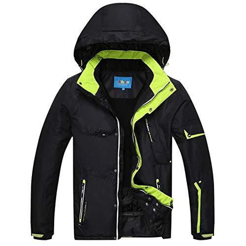 Avenmax Men's Ski Jacket Waterproof Windproof Rain Snow Jacket Hooded Ski Coat Black Large