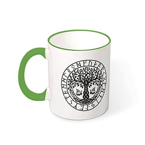 OwlOwlfan Viking Yggdrasil Tree Mug Colored Ceramic Mug Personalised Coffee Cup Tea Mug With Handle for Cafe Bar Birthday Festival Gift For Women Men green 330ml