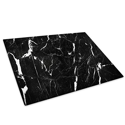 Black White Marble Glass Chopping Board Kitchen Worktop Saver Protector (Read Sizes in Listing))