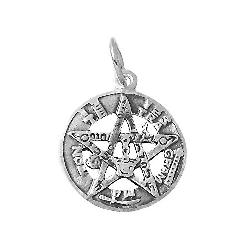 Colgante Plata Ley 925M Tetragramatón 16mm. Amuleto Unisex Centro Estrella Protección Esotérico
