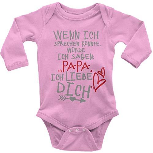 Mikalino Babybody mit Spruch für Jungen Mädchen Unisex Langarm Wenn ich sprechen könnte würde ich Sagen: Papa ich Liebe Dich | handbedruckt in Deutschland |, Farbe:rosa, Grösse:56