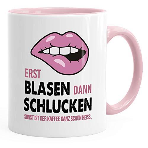 MoonWorks® Kaffee-Tasse Erst Blasen dann Schlucken Spruch Heisse Tasse sexy Lippen rosa unisize