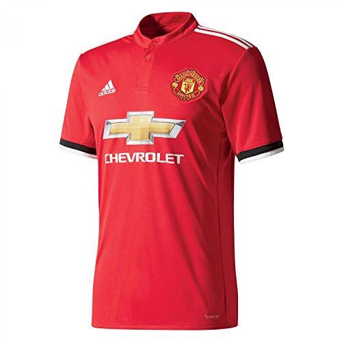 adidas MUFC H JSY Camiseta 1ª Equipación Manchester United 2017-2018, Hombre, Rojo (rojrea/Blanco/Negro), S