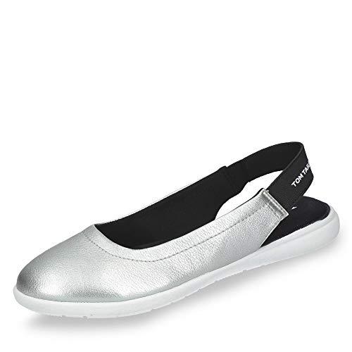 TOM TAILOR 6996405 Damen modischer Slingballerina Lederimitat mit Memory-Effect, Groesse 38, Silber