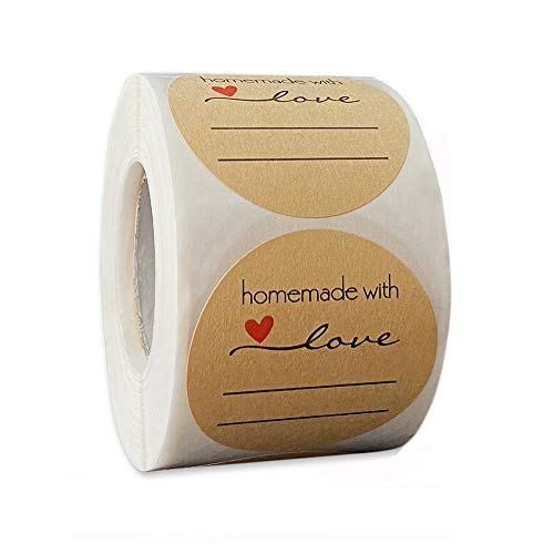 500 Pezzi Etichette Round Kraft, 5cm/2in Etichette Autoadesivo Homemade with Love, Adatti per la...