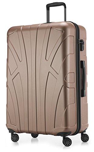 Suitline großer Hartschalen-Koffer Koffer Trolley Rollkoffer XL Reisekoffer, TSA, 76 cm, ca. 96-110 Liter, 100{a3042ca0adcbca525239f72a2de7c1751d53b648d9c221146d906e7cc680807e} ABS Matt, Gold