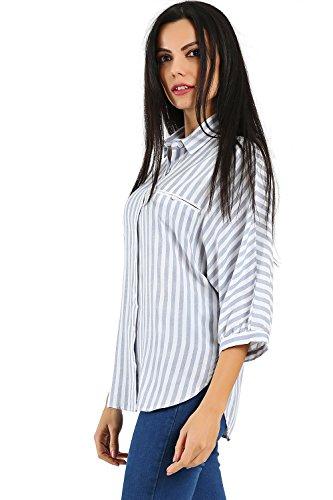 BENIM dames hemd lange blouse gestreept I lange achterkant I wit, blauw, grijs