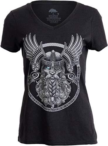 Odin | Norse Mythology God Valkyrie Valhalla Viking Raven Thor Women Top T-Shirt-(Vneck,L) Vintage Black