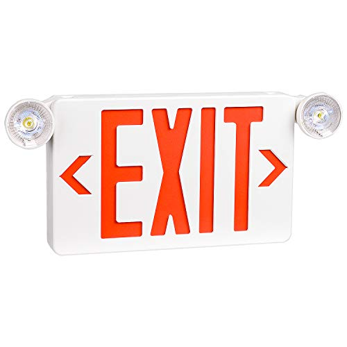 OSTEK Red LED Exit Sign with Emergency Lights,Two LED Adjustable Head Emergency Exit Lights with Battery Backup, Dual LED Lamp ABS Fire Resistance UL-Listed 120-277V