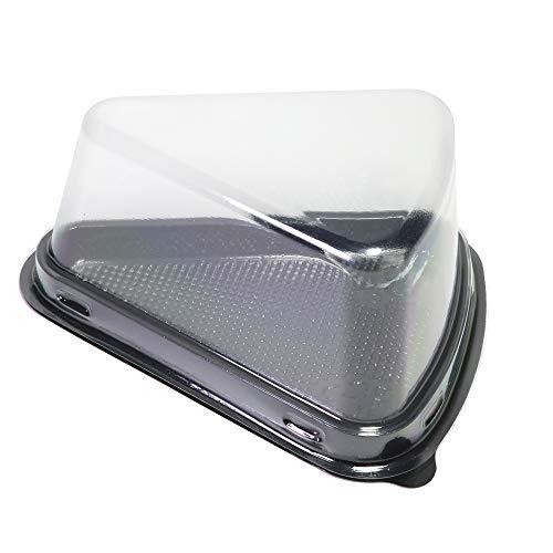 Triangular transparente recipiente Pod W/Base de color negro para tartas cortador de queso caja de transporte