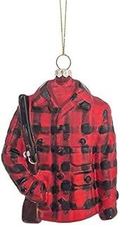 KIG Exclusives Buffalo Check Plaid Jacket Coat Hunting Rifle Christmas Ornament