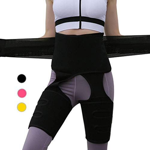 PBOX Waist Trainer for Women,3-in-1 Waist and Thigh Trimmer for Women Weight Loss (Black, L/XL)