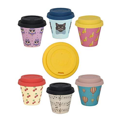 QUY CUP Kaffeebecher to Go im 6er Set, Travel Mug, Bamboo Cup als Mehrweg-Tasse für unterwegs, Coffee to go Becher, nachhaltige Espresso Becher mit Deckel, 90ml