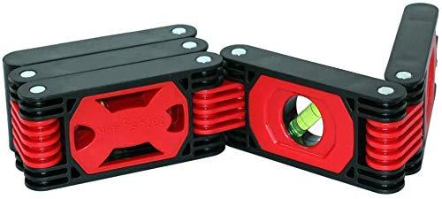 Flexible Wasserwaage – 4 Libellen – 5 Magnetstreifen – voll beweglich (ideal für Winkelarbeiten)