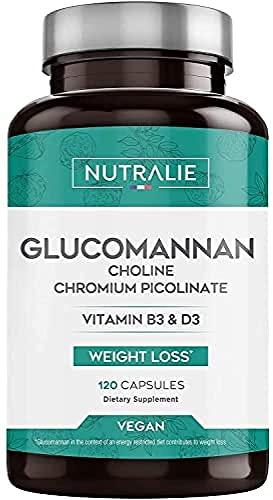 Glucomannano | Aiuta a dimagrire e soppressore dell'appetito 100% naturale con Colina Bitartrato, Cromo picolinato e vitamine B3 e D3 | 120 capsule vegetali | NUTRALIE