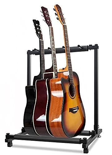 2021 最新型 ギタースタンド 3本収納 折りたたみ ユニバーサル 転倒防止用ゴム付属 楽器本体に傷が付くのを防ぎます 安定耐久 収納しやすい ブラケット (アコギ/ウクレレ/クラシック/エレキ/ベース/管楽器 対応スタンド)