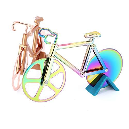 TAECOOOL 2 Stück Fahrrad Pizza Cutter Edelstahl Roller Pizza Wheel Fahrrad Pizza Cutter (Golden)