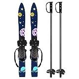 Odoland Tablas de Snowboard y Bastones de Esquí para Niños Principiantes, Snowboard de Baja Resistencia para Niños de hasta 4 Años - Snowboard y Ski Sticks Kit para Niños, Azul Oscuro