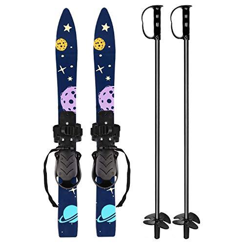 Odoland Ski-Set Kinderski All Mountain Ski Allmountain Rocker für 4 Jahre und jünger, Schneeflocke, bequem sicher Perfekt für die Schuhen 15,5-20,5 cm Dunkelblau
