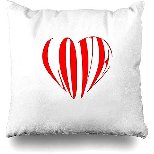 Kussensloop met rode viering, liefde, Valentijnsdag, vervormde tekst in hartje, feestdagen, abstracte grafische groet, romantisch naar huis