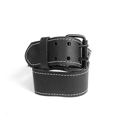 kwb 908820 Leder-Gürtel aus robustem Rinds-Leder, Doppelsteg-schnalle, in Schwarz, 105 cm, mit weißer Naht, für Werkzeug-Taschen, Jeans u. v. m.