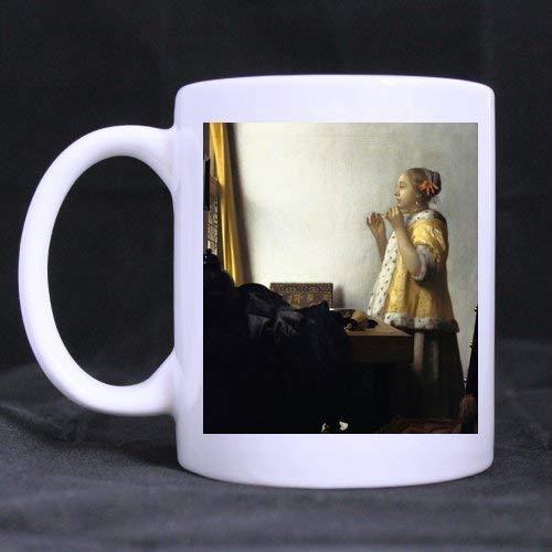 N\A Taza de café de cerámica Regalos de cumpleaños Regalos Jan Vermeer Mujer con un Collar de Perlas Novedad Taza de Cocina Taza de motivación Regalos