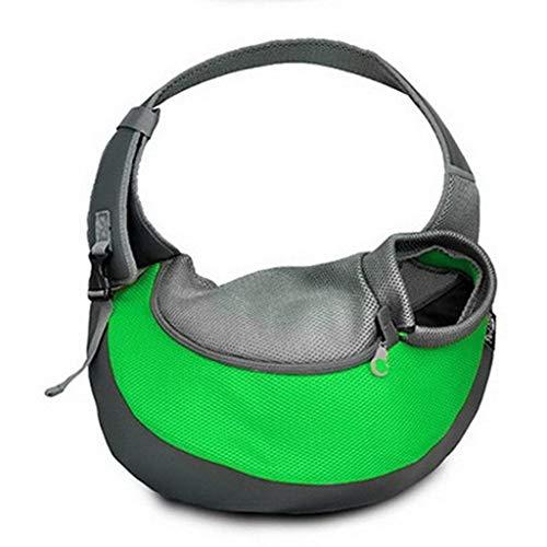 TEFIRE Welpen Tragetasche Hundetasche Umhängetasche Transporttasche Schultertasche für Hunde Katzen kleine Haustiere (S (bis zu 2kg), Grün)