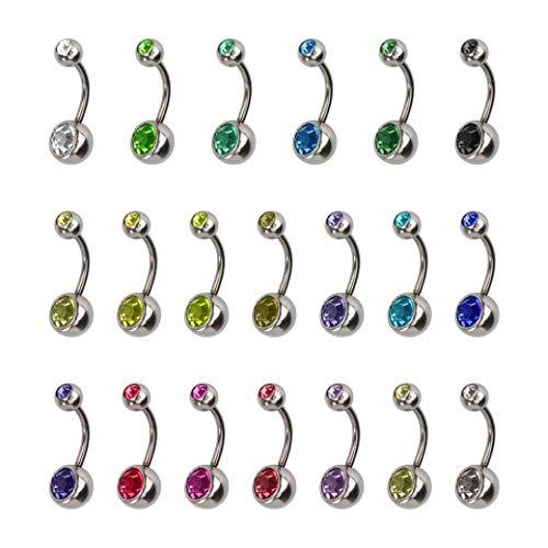 HONGXIN-SHOP Piercing Ombelico Acciaio Inossidabile Piercing Barbell Corpo Gioielli Set Ipoallergenico Piercing All'ombelico 20 Pezzi