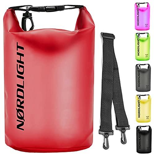 Dry Bag 10l Wasserdichter Beutel (Rot) - Packsack mit Tragegurt, Strandsafe Dokumententasche Für, Strand, Kanu, Stand Up Paddling, Wandern, Kajak, Tauchen, Angeln, Schwimmen