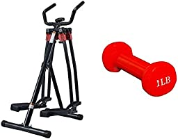 Fitness World Developer 4 destinations, Black, FW-024 with Dumbbell 1 Pound Red Fitness World