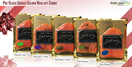 New York's Delicacy Gourmet Smoked Salmon Nova Assorted Gift Combo - Includes 100% Natural Atlantic Salmon Fillets (5 x 4 Oz.) - Pre-Sliced, Cold Smoked - Kosher, Gluten Free, High in Omega 3