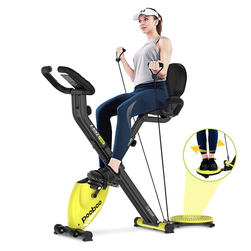 pooboo Foldable Exercise Bike Indoor Cycling Bike Magnetic Stationary Bikes 3 in 1 Indoor Bike with LCD Display for Home Cardio Bikes
