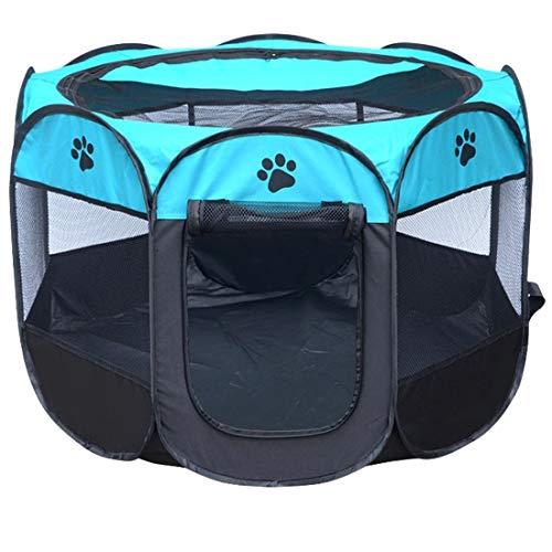 Tuzi Qiuge Pet Supplies, Faltbare Hundehütte Haus Zelt Zaun Bewegliche Wasserdichter for Hunde Und Katzen Mit Aufbewahrungstasche, M, Größe: 91 X 91 X 58cm (Color : Blue)