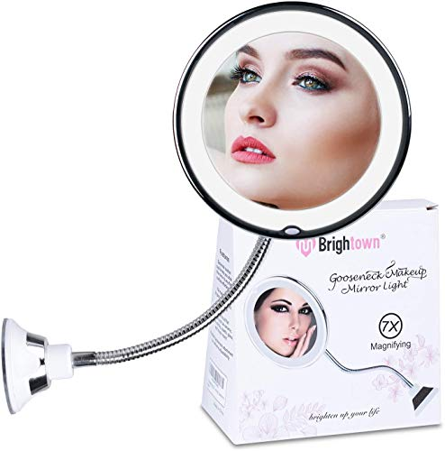 7X Magnifying Mirror with Lights, Flexible Mirror as seen on TV, Powerful Suction Cup, 360° Swivel Flexible Gooseneck Led Lighted Makeup Mirror for Bathroom Shaving Travel Vanity,, Cordless