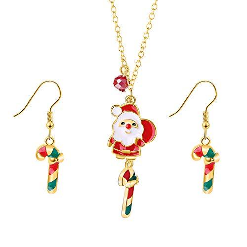 PULABO - Juego de joyas de Papá Noel con forma de Papá Noel y pendientes de Navidad, regalo para madre, hija, amiga, calidad superior y seguridad creativa.