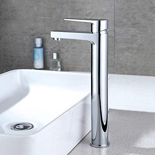 DUTRIX wasserhahn bad hohe wasserhahn aufsatzbecken waschbecken armatur bad hoch waschtischarmatur hoch badarmaturen-G3/8-35mm Einlochinstallation,hoch:12.32 inch
