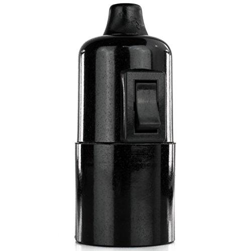 Lampenfassung Glattmantel Bakelit-Fassung E27 schwarz mit Schalter und Klemmnippel