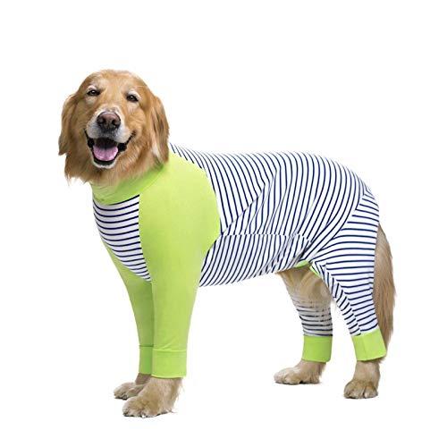 JIANGAA Haustierkleidung gestreifte große Hund Kleidung Cartoon Pyjamas für Gril Junge Hunde Mantel 4 Beine Hund Jumpsuit Sweatshirt Hund Kleidung Haustiere Kleidung