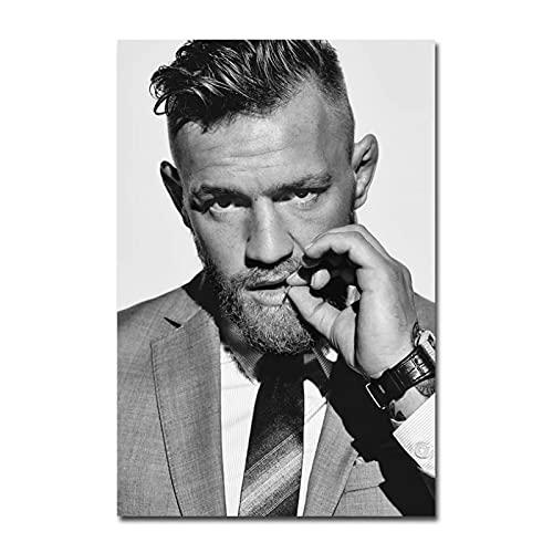 Qqwiter Conor McGregor Irish Featherweight Champion Kunst Leinwand Poster Wandkunst Poster Malerei Druck Wohnzimmer Wohnkultur -50x70cm Kein Rahmen