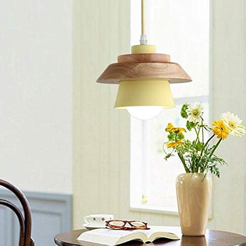 QLIGHA Moderne pendelleuchte Macaron Farbe massivholz Aluminium led Suspension kronleuchter für bar Restaurant nachttischlampe Nicht enthalten,Gelb,D19×H13cm